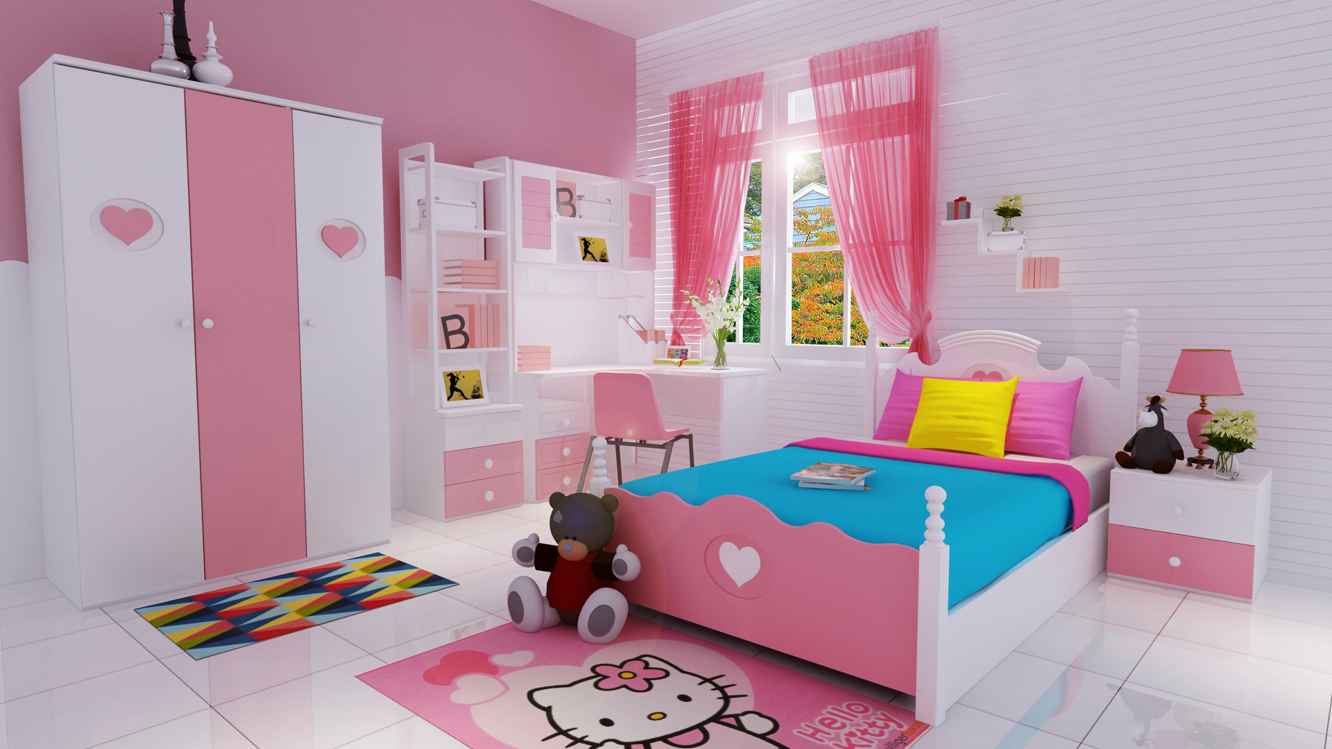 Kids study table design for Child room decoration