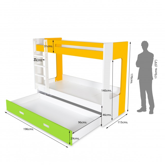 Manhattan - Bunk Bed - Yellow/White/Green6